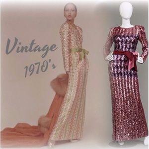 Dresses & Skirts - VINTAGE SEQUIN CHEVRON PARTY EVENING GOWN DRESS