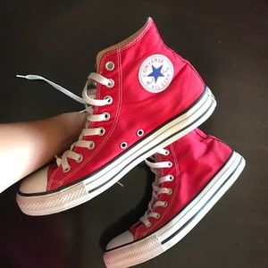 Red Converse All Star Hightop Size 9 Men's