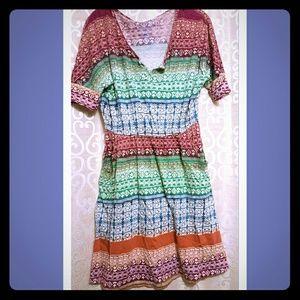 Tribal Print multicolor sleeve dress.
