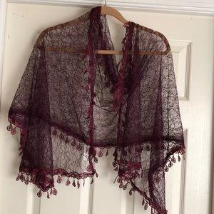 Beautiful Vintage Cranberry Lace Wrap
