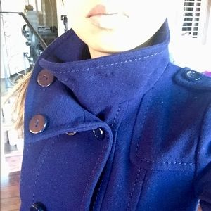 H&M Navy Blue Military Style Double Breasted Coat