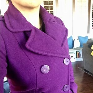 H&M Purple Double Breasted Peacoat.