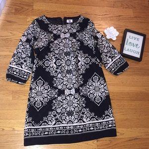 Black & White patterned midi dress