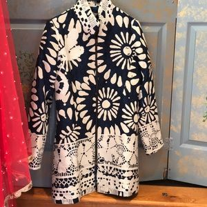 Desigual blue &white 38 coat with white embroidery