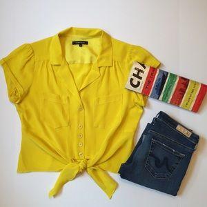 Nanette Lepore Yellow Tie Blouse