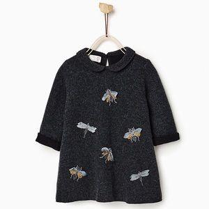 Zara Insect Bug Firefly Peter Pan Collar Dress