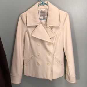 Old Navy White double breasted pea coat