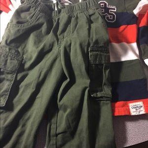 Boys Oshkosh long sleeve polo & cargo pant sz 3T