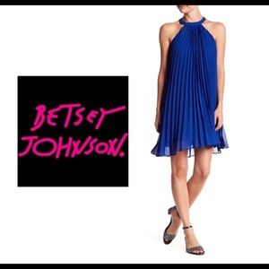 Betsey Johnson Pleated Chiffon Dress Royal Blue