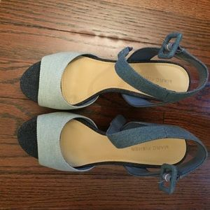 Marc Fisher Denim Block Heel Sandals