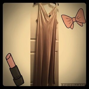 Eileen Fisher 100% silk gold formal dress