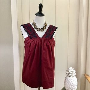 NWT J CREW Burgundy Cotton Pom Pom Top