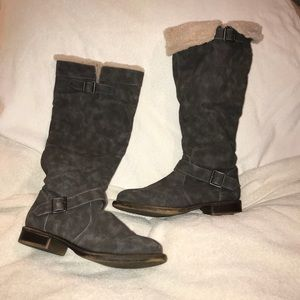 Grey suede over the calf boots
