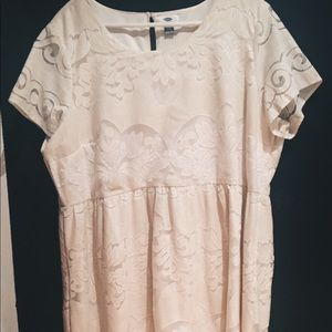 Off White Lace Overlay Dress