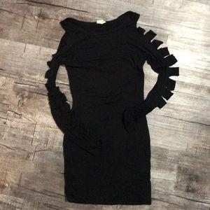 Tobi Black Slash Sleeve Dress