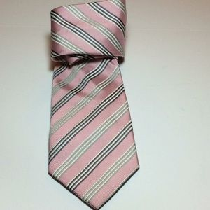 NWOT Donald J. Trump Pink Striped 100% Silk Tie