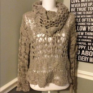 Free People Cowl Neck Fringe Open Knit Sweater