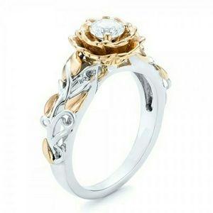 🆕 Sapphire- platinum P gold and white 🌹 ring- 7