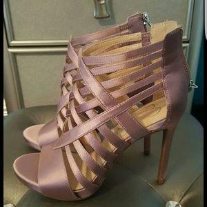 Pink satin heels ❤