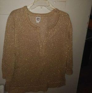 Gold anne klein holiday sweater