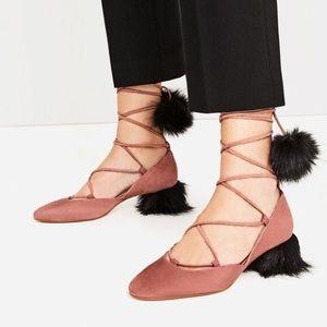 Zara Suede Pom Pom Fur Tie Up Lace Heels