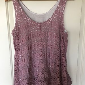 Anthropologie Tops - Deletta size large blush sleeveless lace top