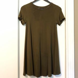 Olive Green Cuffed Sleeved Flowy Tee Dress