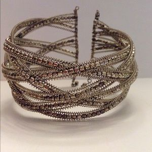 Jewelry - Silver tone beaded and braided cuff bracelet
