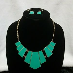 Asymmetrical Rectangular Necklace and Earring Set