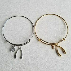 New wishbone charm bracelet, wish charm bracelet