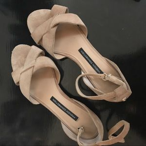 French Connection Nude Suede Sandals