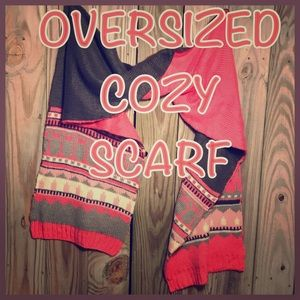 🌟 COZY double sided pink & grey OVERSIZED SARF