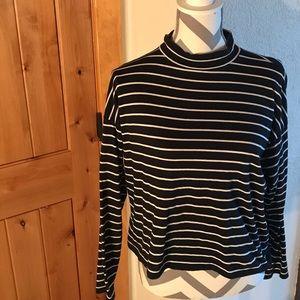 Everlane cropped striped mock neck shirt