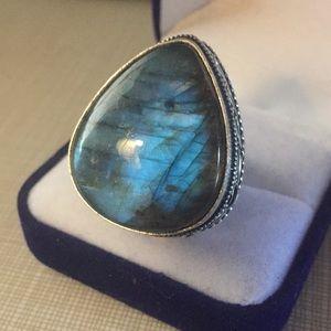 Top quality fire labradorite ring