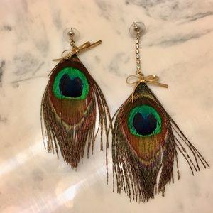 Betsey Johnson Feather Drop Earrings