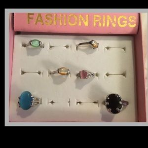 Lot of Fashion Rings all sizes in silver NWT
