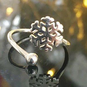 Snowflake Sterling Silver Adjustable Ring