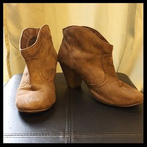 Tan faux suede booties