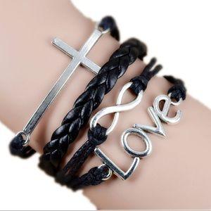 🎉5/$25 Infinity Love Cross Black Leather Bracelet