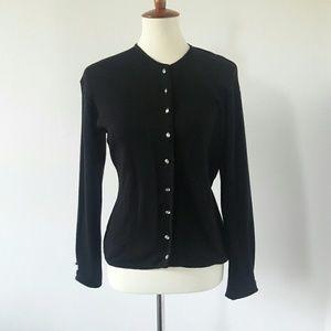 Vintage Anne Klein Black Wool Cardigan