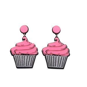Pink Cupcake Dangle Earrings