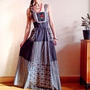 VTG🌹60s Handmade Rose Gingham Prairie Maxi Dress!