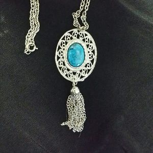 Necklace in Silver & Faux Turquoise with Tassel