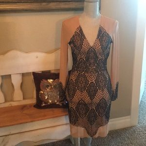 Nude and black sheer dress