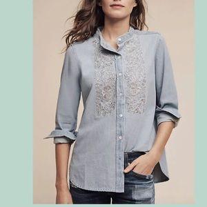 Anthropologie - Embroidered Denim Button Up Top