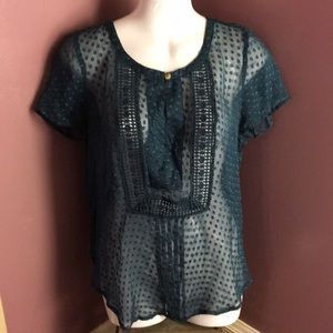 Anthropologie Meadow Rue Sheer Blue Blouse