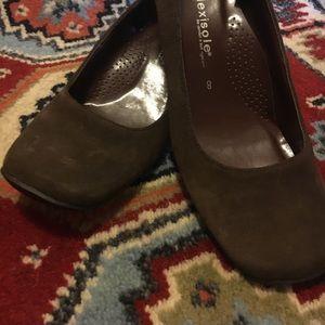 Chocolate suede kitten heels