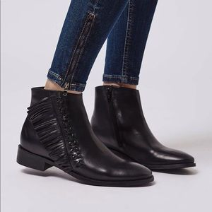 Topshop Kit flat fringe leather booties