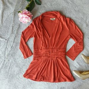 Anthropologie Ett:twa Orange Woven V-Neck Blouse