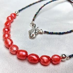 Handmade bright pink freshwater pearl necklace